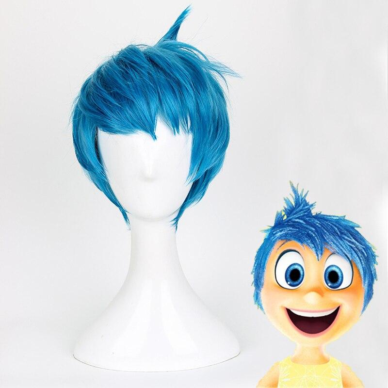 Movie Inside Out Joy Wig Short Blue Heat Resistant Hair Cosplay Costume Wigs + Wig Cap