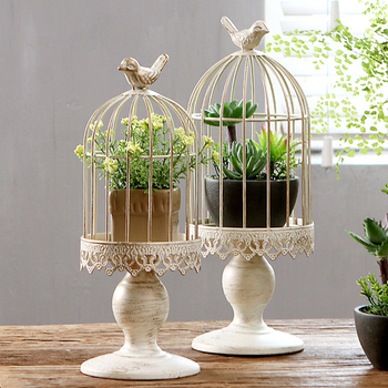 Birdcage Candle Holder Candlestick Ornament White Vintage Bird Cage Carved Candle Holder Decoration Home Potted Flower Stand 1