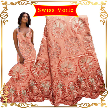 African Swiss Voile Fabric Lace 5 Yards Peach Nigerian Lace Cotton French Fabric Embroidery swiss voile lace in switzerland 2020