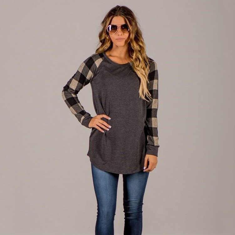 新 2019 秋の綿の女性の柄プリントの女性のヘッドステッチカラーマッチング底入れカジュアルルーズシャツトップブラウス Tシャツ
