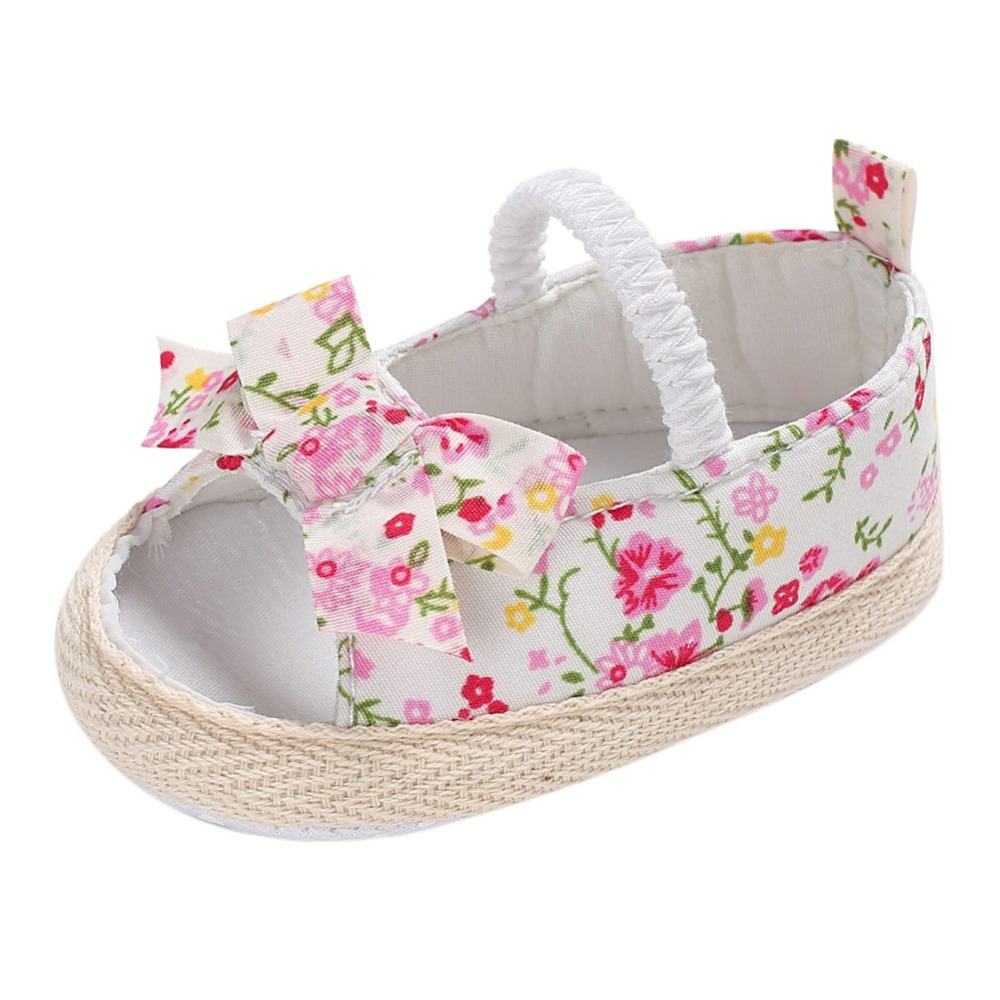 New Summer Casual Baby Girls Shoes Cotton Fabric Breathable Floral Print Kid First Walkers Prewalkers Child Crib Bebe Shoes
