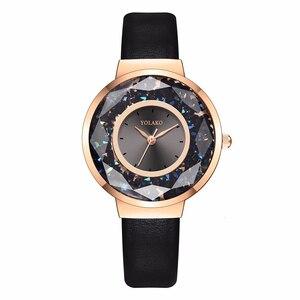 Image 2 - YOLAKO Brand Women Leather Moving Diamond Watch Luxury Ladies Quartz Rhinestone Watches Clock Reloj Mujer Relogio Feminino