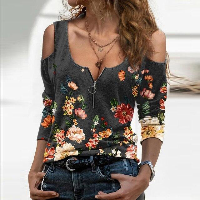 Blusa holgada informal con manga larga para verano, camisa Sexy con estampado Floral y hombros descubiertos para mujer, cuello de pico profundo, 2021 6