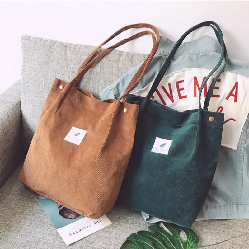 Bags for Women 2020 New Ladies Handbags Student Corduroy Tote Bag Casual Solid Color Shoulder Bag Reusable Beach Bag