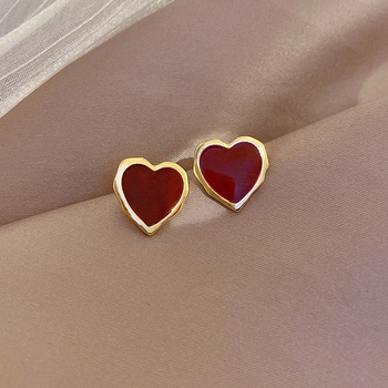 South Korea Contracted Heart-Shaped Earrings Fashion Drip Geometry Earrings Girls Wedding Jewelry Gifts image