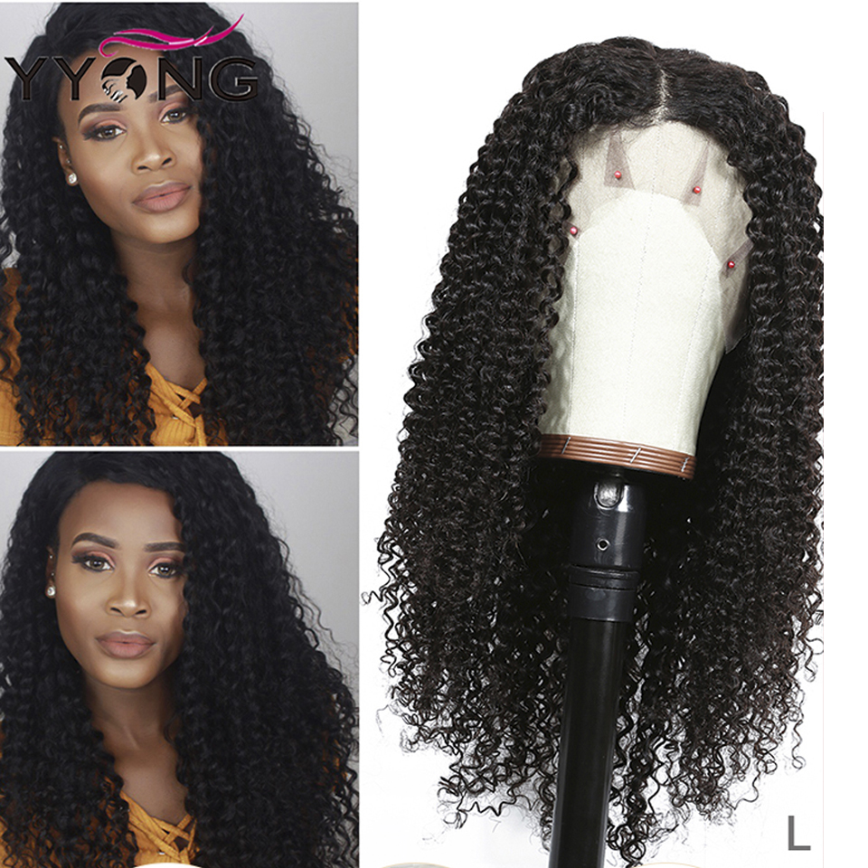 Yyong 13x4 Brazilian Kinky Curly Human Hair Wigs Lace Front Human Hair Wigs Remy Lace Front Wigs For Black Women Low Ratio 120%