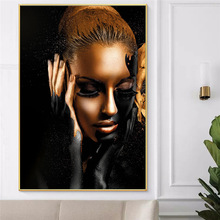 Black Gold African Nude Woman Oil Canvas Painting Scandinavian Poster and Print Wall Art Picture for Living Room Home Decoration