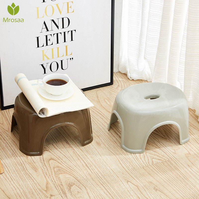 Newest Household Non-Slip Plastic Stool Adult Kids Thicken Low Stool Changing Shoes Stool Great For Kitchen Bathroom Living Room