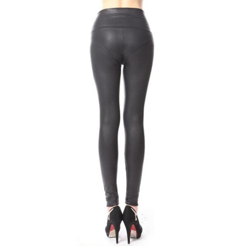 Women High Waist Leggings Satin PU Snake Printed Winter Autumn Pants Faux Leather Black Matt Leggings Pants