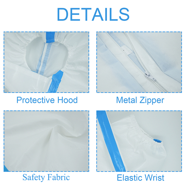 Protective Clothing Waterproof ppe suit Reusable Prevents dust Invasion Plastic Insulation Suit Washable and Reusable 3
