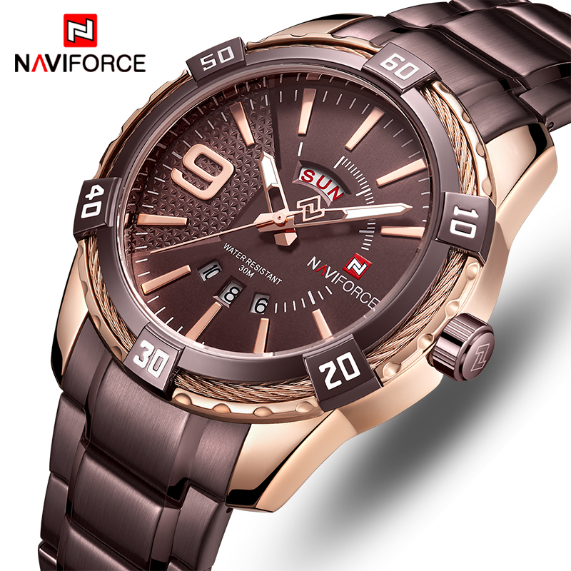 NAVIFORCE Watch Men Top Brand Luxury Fashion Quartz Men's Watches Full Steel Waterproof Sports Wrist Watch Relogio Masculino