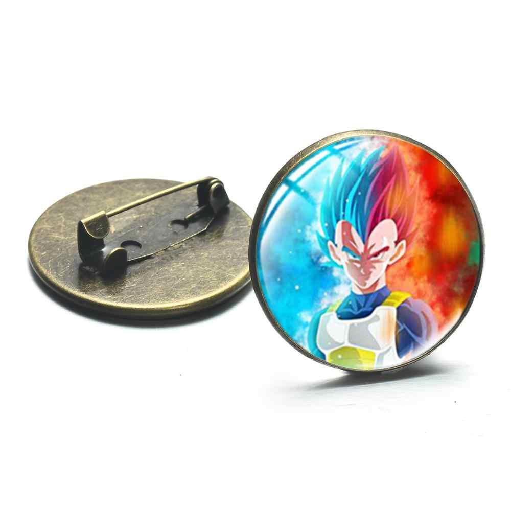 SONGDA lindo Son Goku kuriring insignias de cosplay dibujos animados Anime dragón bola de vidrio redondo broche pines para bolsa Denim chaqueta camisa Decoración