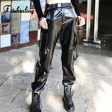 Fitshinling PU Faux Leather Pants Women Buckle Sashes Gothic Harajuku Trousers Grunge Dark High Waist Pant Female Sale