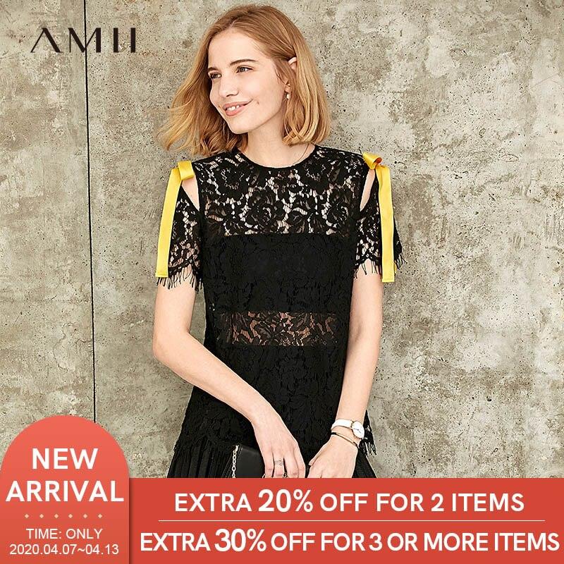 Amii Minimalist Women Lace T-shirt Summer Fashion Hollow Out Bandage Tassel Slim Female Tops 11980057