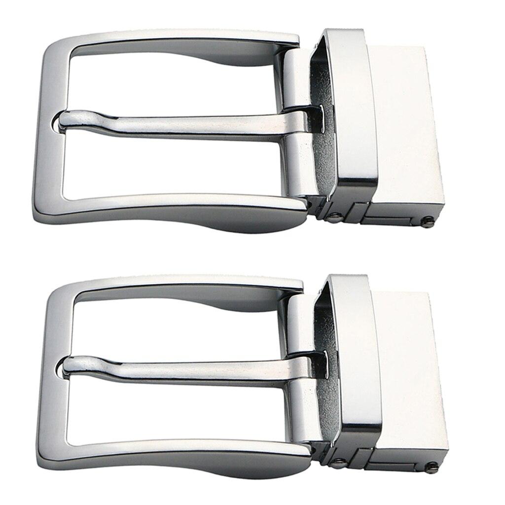2pcs Simple Rectangular Belt Buckle Polished Reversible Ratchet Belt Buckle Replacement Buckle Belt Accessories 40mm