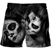 Casual Dark beauty Printed Beach Shorts Masculino Men/Women 3d Streetwear Board Shorts Plage Quick Dry Funny black Swimwear(China)