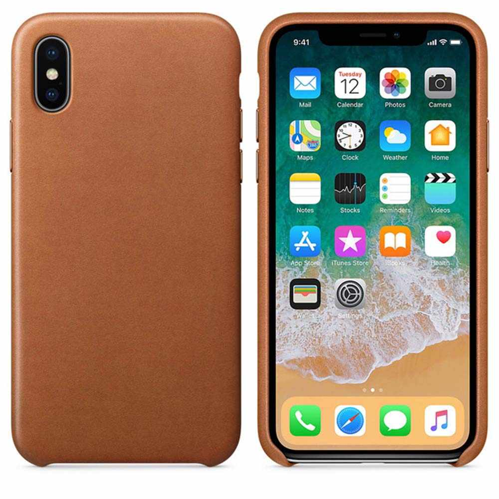 1:1 Official Real Leather Case for iphone 7 8 plus X XS XR XS MAX Genuine Leather Cover With Retail package