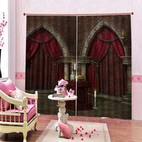 European style red brown curtain Roman column backdrop Window Curtains Print Living room home Drapes Decor