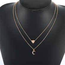 Double horn pendant heart crystal necklace gold Dot LUNA MOON Necklace Women Phase Heart Necklace