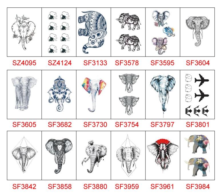 Elephant Temporary Tattoo Sticker Waterproof Shoulder Arm Men Women Boys Girls Fake Tattoos 10.5X6cm