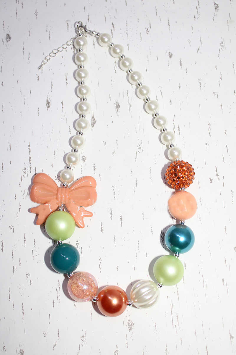 Harrington floral b chunky colar-cerceta pêssego laranja-bubblegum colar-bebê-criança-meninas-festa feminina favores necklacesn62