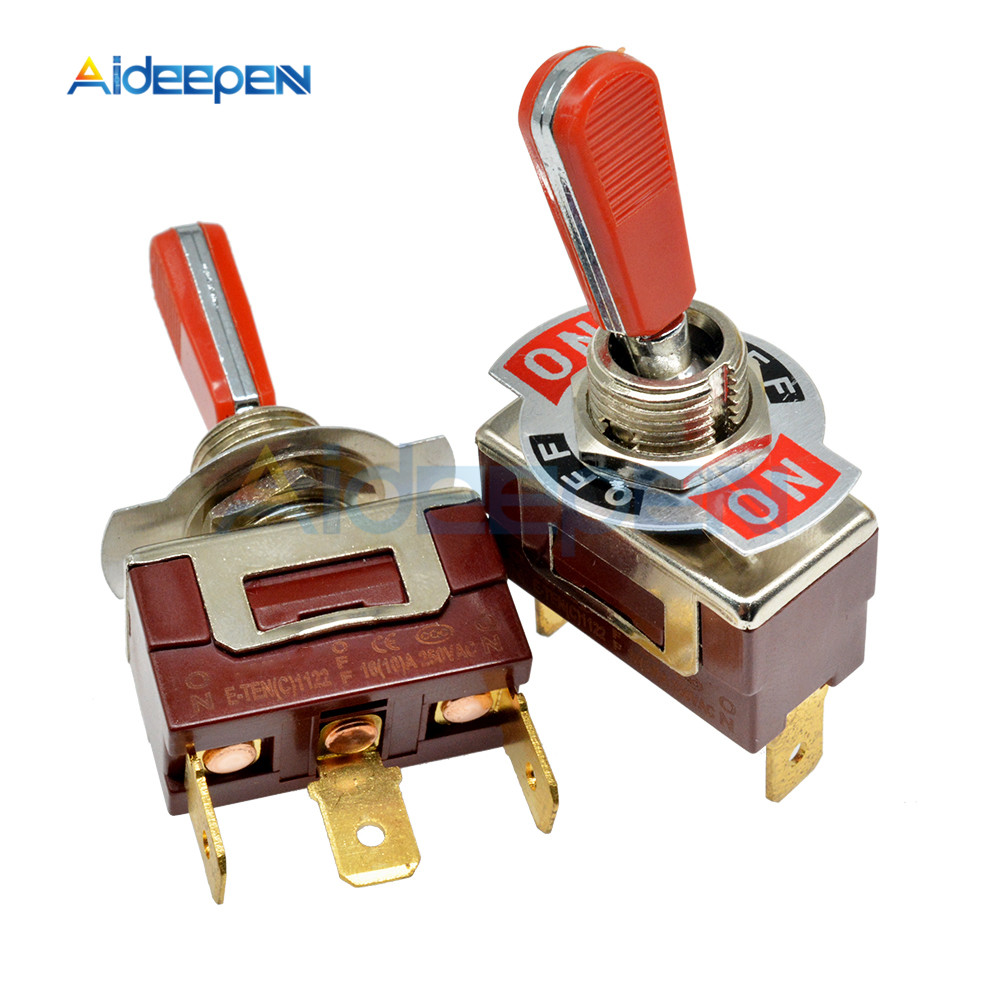 E-TEN(C)1122 Toggle Switch Red 3 Pin ON-OFF-ON Switch Silver Contactor 50000 Times Lifespan 250V 16A 29*14.6MM Red Handle