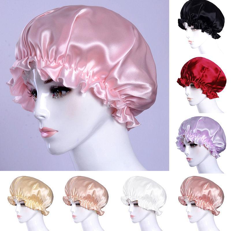 Women Elastic Night Sleep Hat Long Hair Care Chemo Cap Satin Bonnet Cap Headwrap Islamic Head Cover Headwear Caps