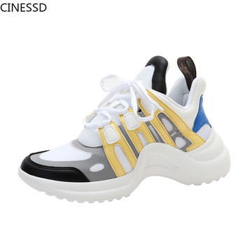Women Platform Arched Sneakers Height Increasing Lace-Up Running Sport Shoes Breathable Mesh Mixed Colors Woman Vulcanize Shoes