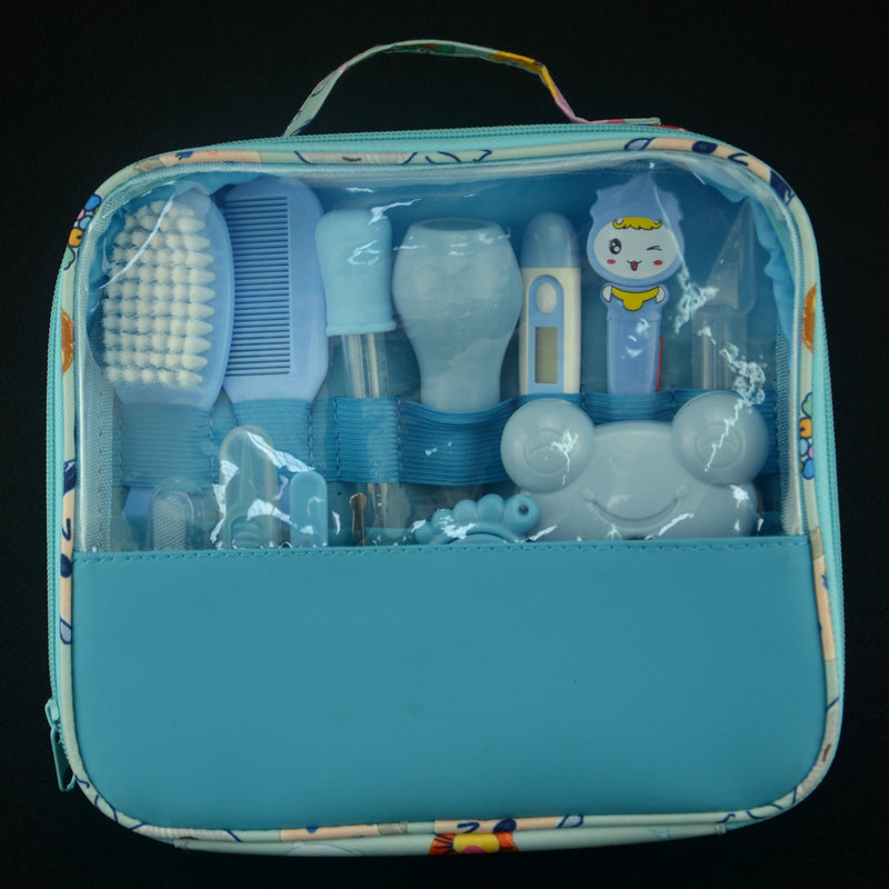 Детский комплект для ухода за здоровьем, комплект для ухода за новорожденным ребенком, комплект для ухода за ребенком, термометр, ножницы для стрижки, детские туалетные принадлежности для малышей - Цвет: blue 13PCS