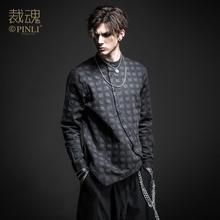 送料無料 · ソウル春の新男性のダーク黒不規則な綿長袖シャツ BC193113390