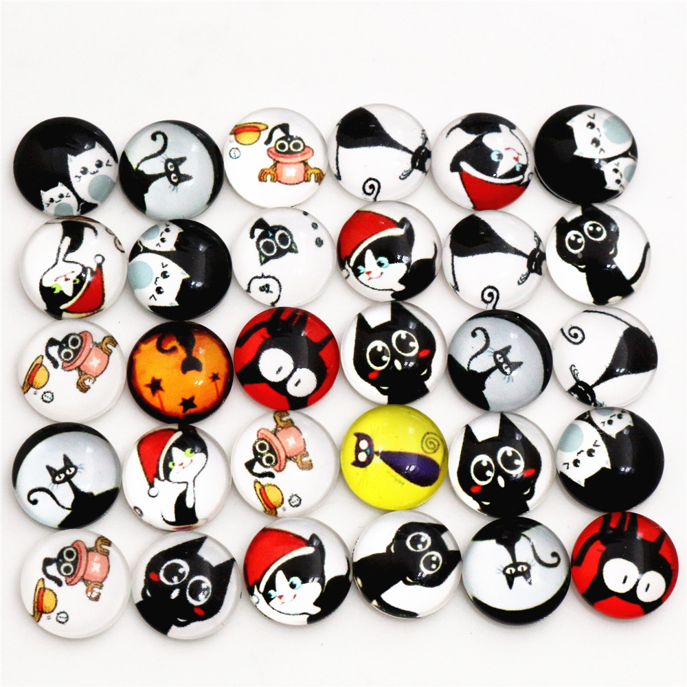 Hot Sale 50pcs 12mm  Mixed Handmade Photo Glass Cabochons   (D5-40)