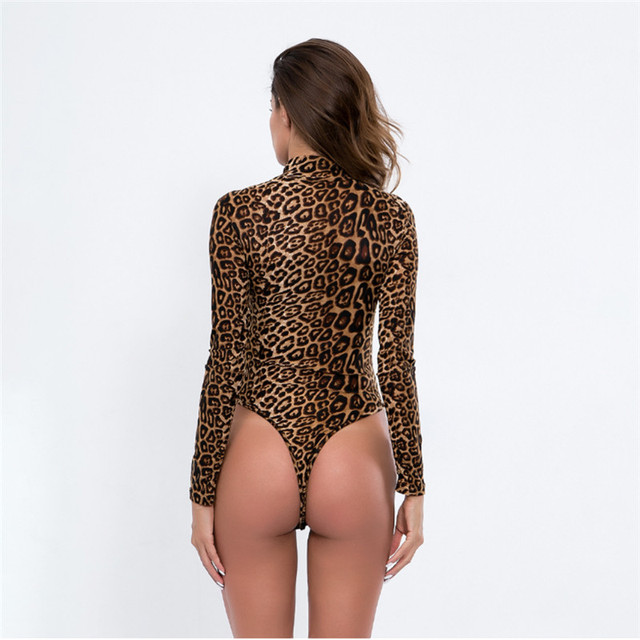 2020 Leopard Bodysuit for Women Sexy Bodycon Skinny Body Suit Turtleneck Long Sleeve Playsuit Printed Rompers Jumpsuits 2