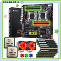 HUANANZHI X79-8D dual X79 motherboard with M.2 NVMe SSD slot dual CPU Xeon E5 2697 V2 with dual coolers RAM 256G(8*32G) REG ECC