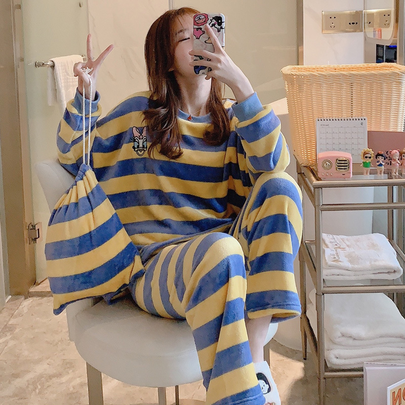 Winter Coral Velvet Stripes Cartoon Online Celebrity Cloth Bag Pajamas Women Long Sleeve Storage Bag Flannel Three-piece Set Hom