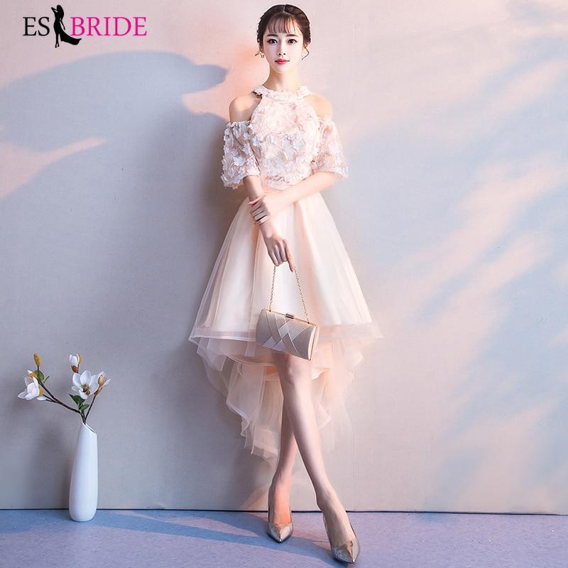 ES2752 High Low Evening Gowns For Women Short Sleeves Evening Dress Evening Gown Formal Dresses Vestido De Festa