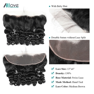 Image 4 - Allove Loose Wave Bundles With Frontal Human Hair 3 Bundles With Frontal Indian Hair Bundles With Closure Non Remy Lace Frontal