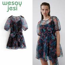 Women Dress summer elegant vestidos O-neck floral organza mini A-line vestidos de fiesta de noche chic party dress floral boho dress a line v neck sexy spaghetti strap mini dress vestidos de fiesta ruffle hem floral dress sukienki vestidos