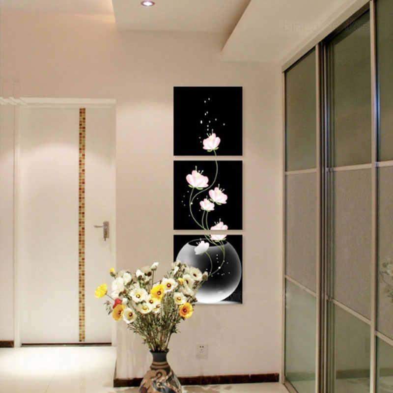 キャンバス 3 パネルの壁絵油絵美しいクリエイティブ蓮ギャラリーバー絵画レストラン非フレーム