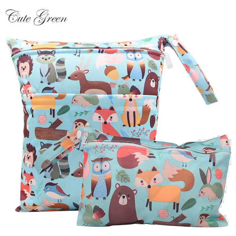 Waterproof Reusable Wet Bag For Nursing Menstrual Pad Baby Cloth Diaper Nappy Travel Wetbag Maternity Diaper Bag 30*36 15*22.5cm