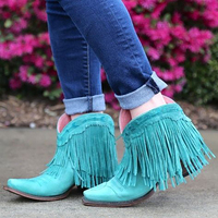 Turquoise Fringe Booties 2019 Autumn New Fashion Tassel Short Boots Square Heels Medium Women Slip On Shoes Manufacturer