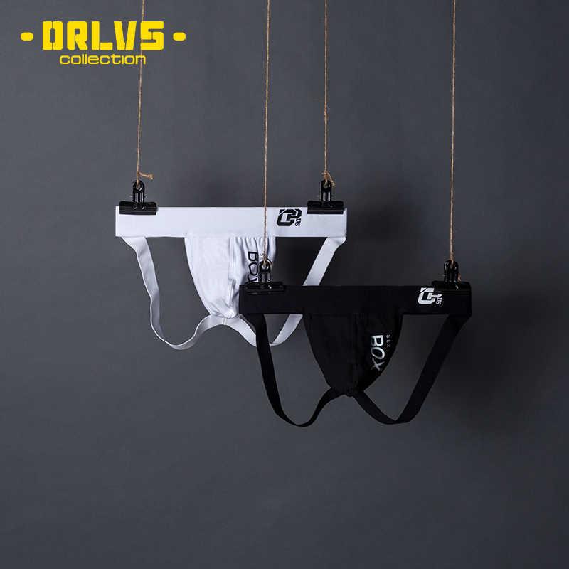 ORLVS erkek iç çamaşırı erkekler seksi külot Jockstrap kılıfı Cuecas erkek pamuklu külot Thongs Mesh külot eşcinsel kayma Homme dize