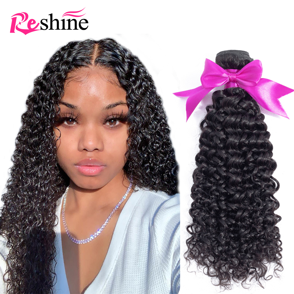 Бразильские курчавые вьющиеся пучки волос Reshine, 100% человеческие волосы, 1/3/4 пучков, естественный цвет, кудри, Реми, искусственные пряди