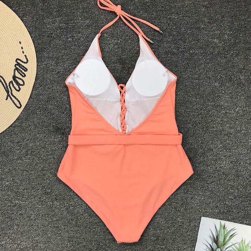Одноцветный купальный костюм с бретельками, модель 2020 года, сексуальный купальник для женщин, с поясом, с высокой посадкой, пляжная одежда, u-... 61