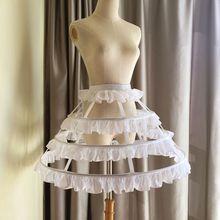 Frauen Mädchen Lolita Hohl Lotus Blatt Spitze Vogel Käfig Fisch Knochen Rock Cosplay Kleid Rock Petticoat Braut Hochzeit Kleid Futter