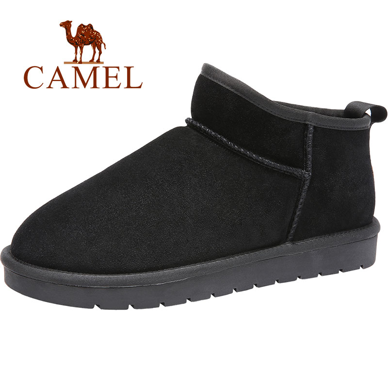 CAMEL Men Winter Boots New Snow Boots with Warm Fur Boots Scrub  Slip on Short Black Man Boot Casual Shoes Men Large Size 47-in Basic Boots from Shoes    1
