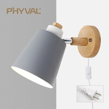 PHYVAL Nordic Wall Lamp With Switch Iron Wall Lamp E27 Macaroon 6 Color Bedside Wall Lamp Led EU/US Plug Wall Sconce Light