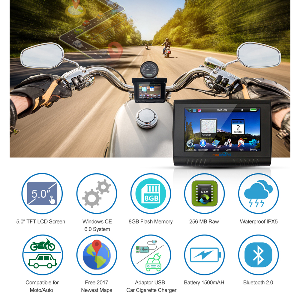 Fodsports 5 Zoll Motorrad Navigation Bluetooth Motorrad GPS Navigator IPX5 Wasserdichte 256MB RAM 8GB Flash Kostenloser Installieren Karten