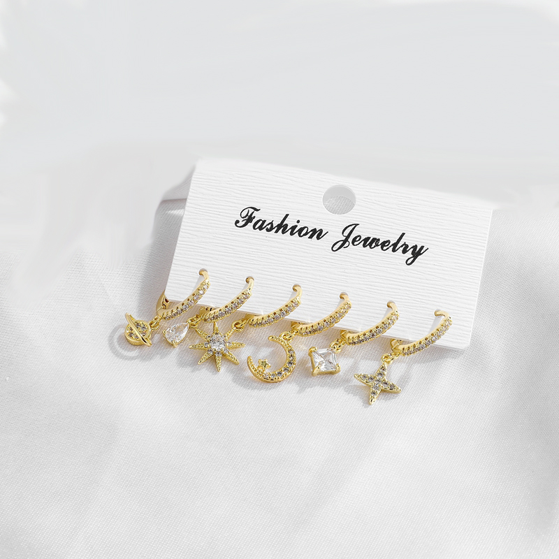 fashion Star And Moon And satellite square Crystal Earrings Set New Korean ladies sets Earrings For Women fashion Jewelry 2020