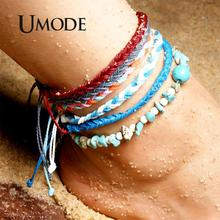 UMODE Natural Green Turquoise Stone Vsco Girls Anklets Bracelets Sets for Women Handmade Boho Ball Ankle Jewelry Fashion PA0037