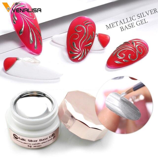Sliver Gel Base Metal Effect Line Gel Soak Off Led Glass Transparent Colors Gel Polish 5g Cheap Nail Venalisa UV Gel 2